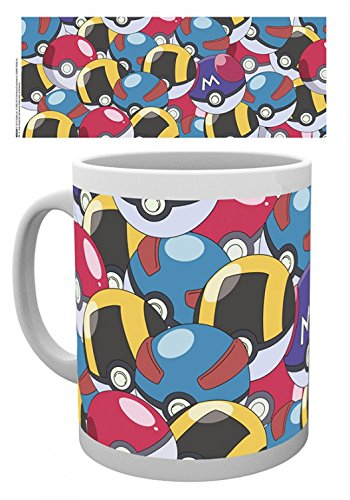 1art1 Pokémon, Pokéballs Tasse À Café Mug (9x8 cm) + 1x Sticker Surprise