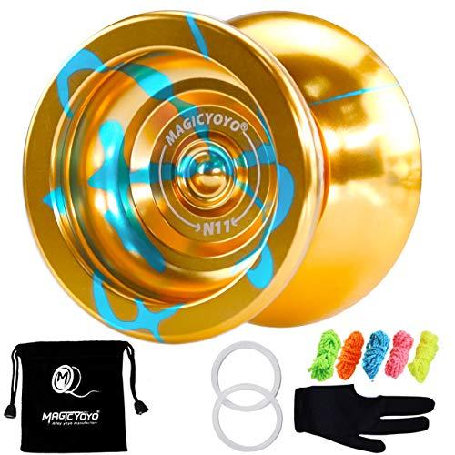 MAGICYOYO N11 Professional Unresponsive Yoyo Alloy Aluminum YoYo Ball with Bag, Glove and 5 Strings (Golden Blue)