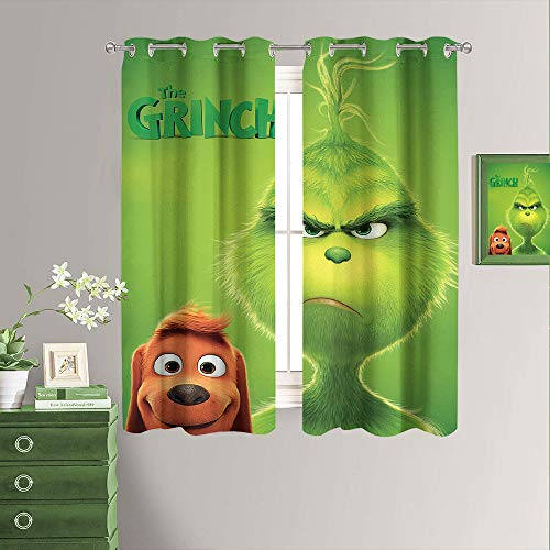 Room Darkening Blackout Window Curtains How The Grinch Stole Christmas Set of Two Panels Grommet Living Room Curtains New Year Decorations W55 x L45 Inch