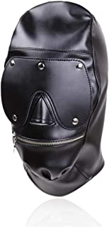 Funny Bo`ndà-gé Full Cover Headgear Hood Zipper B+D+S-M Fē`t-i`s`h Mask Halloween Cosplay for Him or Her