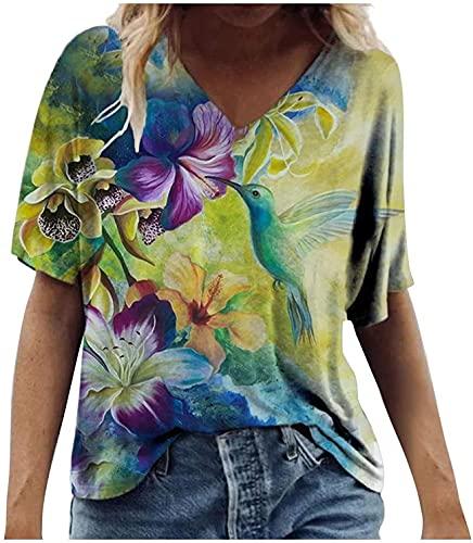 Nanly Manga corta para mujer más tamaño camiseta flores impresión blusa Colorblock cuello redondo Top verano camisa