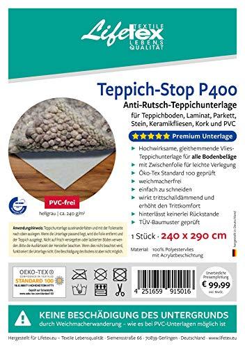 Teppich-Stop P400 Antirutschmatte PVC-frei, 240 x 290 cm