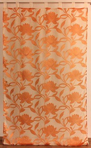 Anna N° 1 Rideau à Pattes Extra Long 140 x 285 cm, Polyester, Orange, 140 * 285
