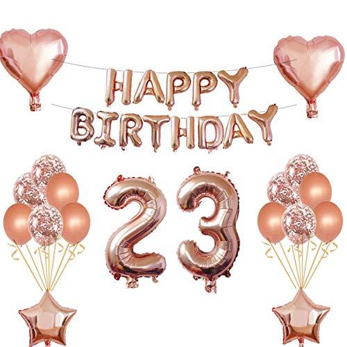 Oumezon 23 Geburtstag Mädchen Dekoration Rose Gold, 23. Geburtstag deko für Mädchen Jungen Happy Birthday Girlande Banner Folienballon Konfetti Luftballons Deko Geburtstag Party Anzahl Ballons