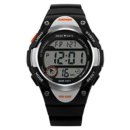 Reloj infantil LANCARDO con pulsera para niño o niña, pantalla digital, correa de plástico y pulsera para niños, color negro
