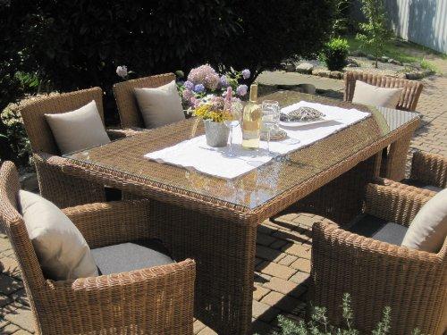 bomey Sitzgruppe Garten Garnitur Tisch und 6 Sessel/Stühle Rattan Polyrattan Geflecht Gartenmöbel natur-beige-braun Lyon6
