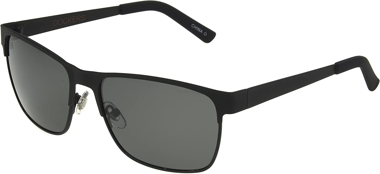 Dockers Men's Colton Sunglasses Polarized Navigator, Black, 57mm