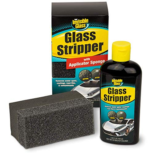 Invisible Glass 91411 3.38-Ounce Glass Stripper Water Spot Remover Kit Eliminates Coatings, Water Spots, Waxes, Oils and More to Polish and Restore Automotive Glass