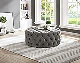 Best Master Furniture SH002GV Sherlyn Tufted Velvet Round Ottoman/Footstool, Gray