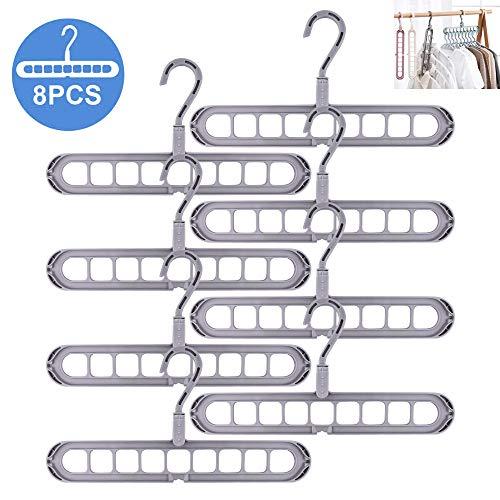 Magic kledinghanger-organizer, ruimtebesparende, magische kleerhangers, multifunctioneel, 8 stuks standaard kledinghangers met 9 gaten, anti-slip kleerhanger, cascading hangers