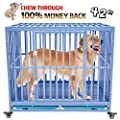 HEIMENT Heavy Duty Dog Cage Strong Metal Kennel and Crate for Large Dogs, Easy to Assemble 2 Prevent Escape Lock, Tray and Rolling Wheels, Blue, 42 inches
