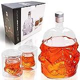 Whisky-Flaschenkaraffe mit 2 Gläsern, Whiskygläser, Whisky-Karaffe für Wein, Likör, Scotch, Bourbon, Brandy – 750 ml