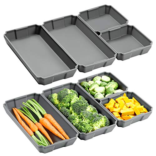 Silicone Sheet Pan Set, XOMOO 8PCS Nonstick Silicone Dividers for Baking Trays, Baking Pan Dividers with Ribbed Bottom, Baking Cooking Accessories for Oven Dinner Prep, Dishwasher Safe Air Fryer Safe