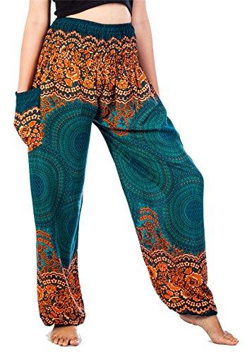 LOFBAZ Harem Pants for Women Boho Hippie Bohemian Yoga Palazzo Gypsy Joggers Baggy Lounge Aladdin Parachute Festival Clothing Rose 1 Teal Green XXXL