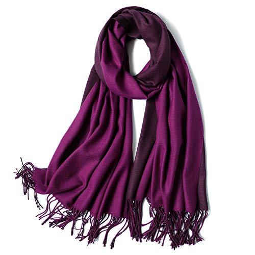 SOJOS Beidseitig Farbig Reversible Kaschmir Wolle Damen Schal Schals Poncho SC302, Lila & Grau, L