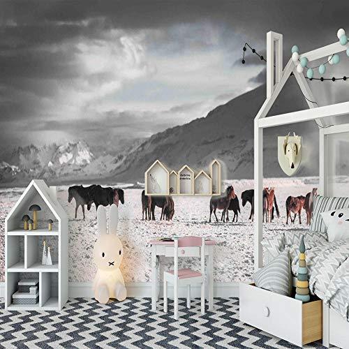 ZDPLL Kinderzimmer Tapete Graues & Tierisches Pferd Mädchen Schlafzimmer Tapete Kindergarten Junge Zimmer Tapete Nahtlos Tapete Wanddekoration fototapete 3d Vlies wandbild Schlafzimmer 140x100cm