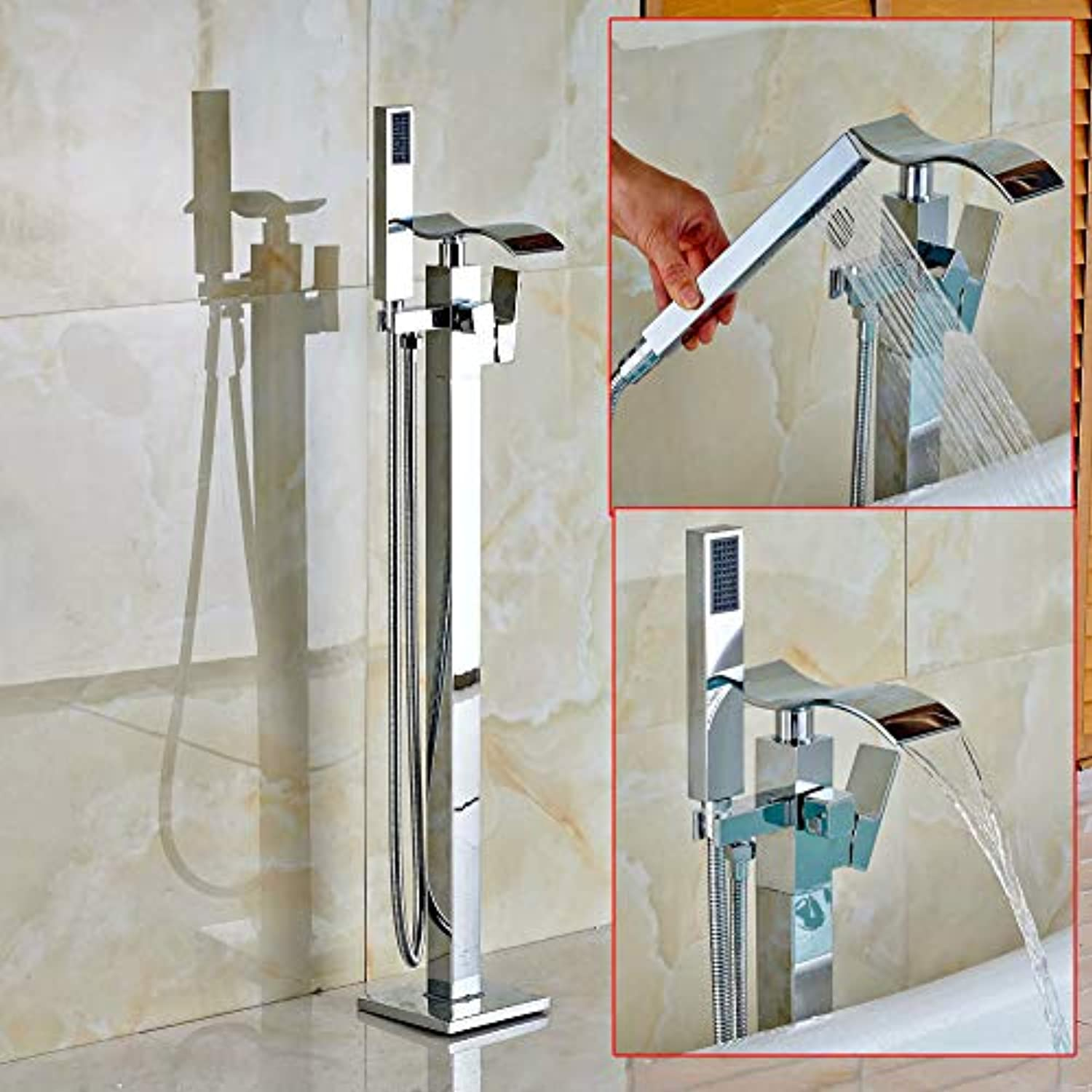 AFFC Free Standing Waterfall Bathroom Tub Faucet Chrome Brass Mixer Tap W Hand Shower Floor Mounted Bathtub Faucet Chrome