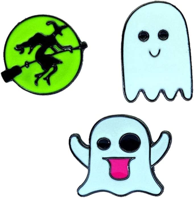 NUOBESTY 30pcs Halloween Brooch Pin Ghost Witch Lapel Pins Halloween Enamel Clips Cartoon Sweater Shawl Clips Halloween Party Fvor Gifts Decoration (Random)