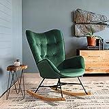 HOMYCASA Mecedora relajante con botones decorativos, sillón de salón UKFR de tela de terciopelo con diseño retro con patas...