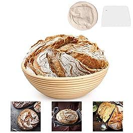 Banneton Rond L'Imperméabilité Panier 25 cm Proofing Basket pâte pour pain et brosse sans [1000g de pâte] – Doublure en…