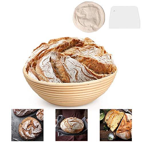 DUTISON 9 Zoll Gärkörbchen mit Leineneinsatz Brotschale Brotform, Rund 25 x 8.5cm Peddigrohr Korb Gärkorb mit Teigschaber für Brot bis zu 0,8 kg Teig, Ø 22 cm