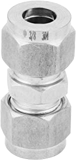304 Stainless Steel Compression Tube Fitting Double Ferrule Joint Connector Equal Straight Adapter(Φ3/8-Φ3/8)