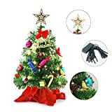 20' Tabletop Mini Christmas Tree, Miniature Pine Christmas Tree with Hanging Ornaments,...