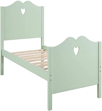 Bed Frame Twin Platform Bed with Wood Slat Support and Headboard and Footboard Ergonomic (Color : Green)
