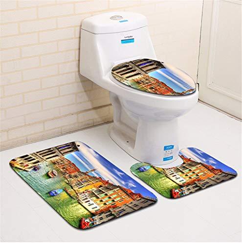 Gxinyanlong Cuarto de baño Alfombra baño de Tres Piezas de baño WC WC Alfombra 3D,Dos