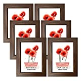 Schliersee 5x7 Brown Picture Frames Set Rustic 5x7 Frame Fits for 5 by 7 Photos for Wall Desktop Display, Brown, 6 Packs