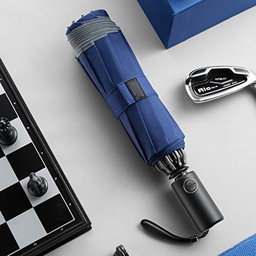 Dceer voiture parapluie automatique anti parapluie pluie parapluie double usage pliant parapluie automatique (Couleur : Bleu)