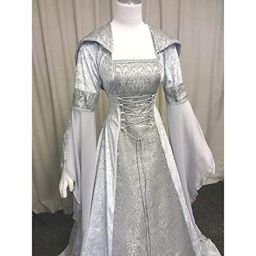 B/H Mittelalter Kleidung Damen Renaissance,Mittelalterliches Retro-Tunika-Kleid mit Kapuze, Halloween-Kostümballkostüm-White_XXXXXL,Damen Halloween Mittelalterliche Kostüm Retro