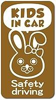 imoninn KIDS in car ステッカー 【マグネットタイプ】 No.45 ウサギさん2 (ゴールドメタリック)
