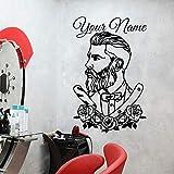 YuanMinglu Custom Barber Shop Friseur Friseur Tattoo Moderne benutzerdefinierte Aufkleber personalisierte Fenster Blume Wandaufkleber Aufkleber 118x75cm