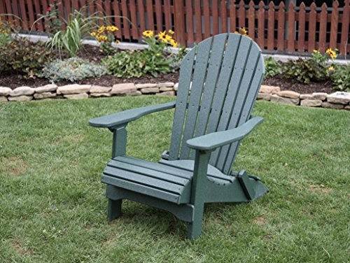 Turf Green-Poly Lumber Folding Adirondack Chair with Rolled Seating Heavy Duty Everlasting Lifetime PolyTuf HDPE - Made in USA - Amish Crafted