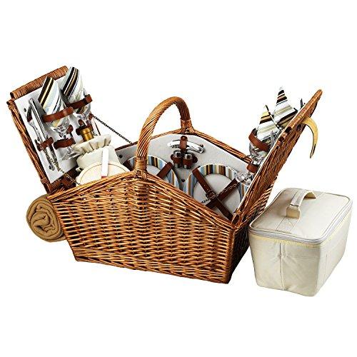 Picnic at Ascot Huntsman Picknickkorb im englischen Stil, mit Service für 4 Personen und Decke – Santa Cruz