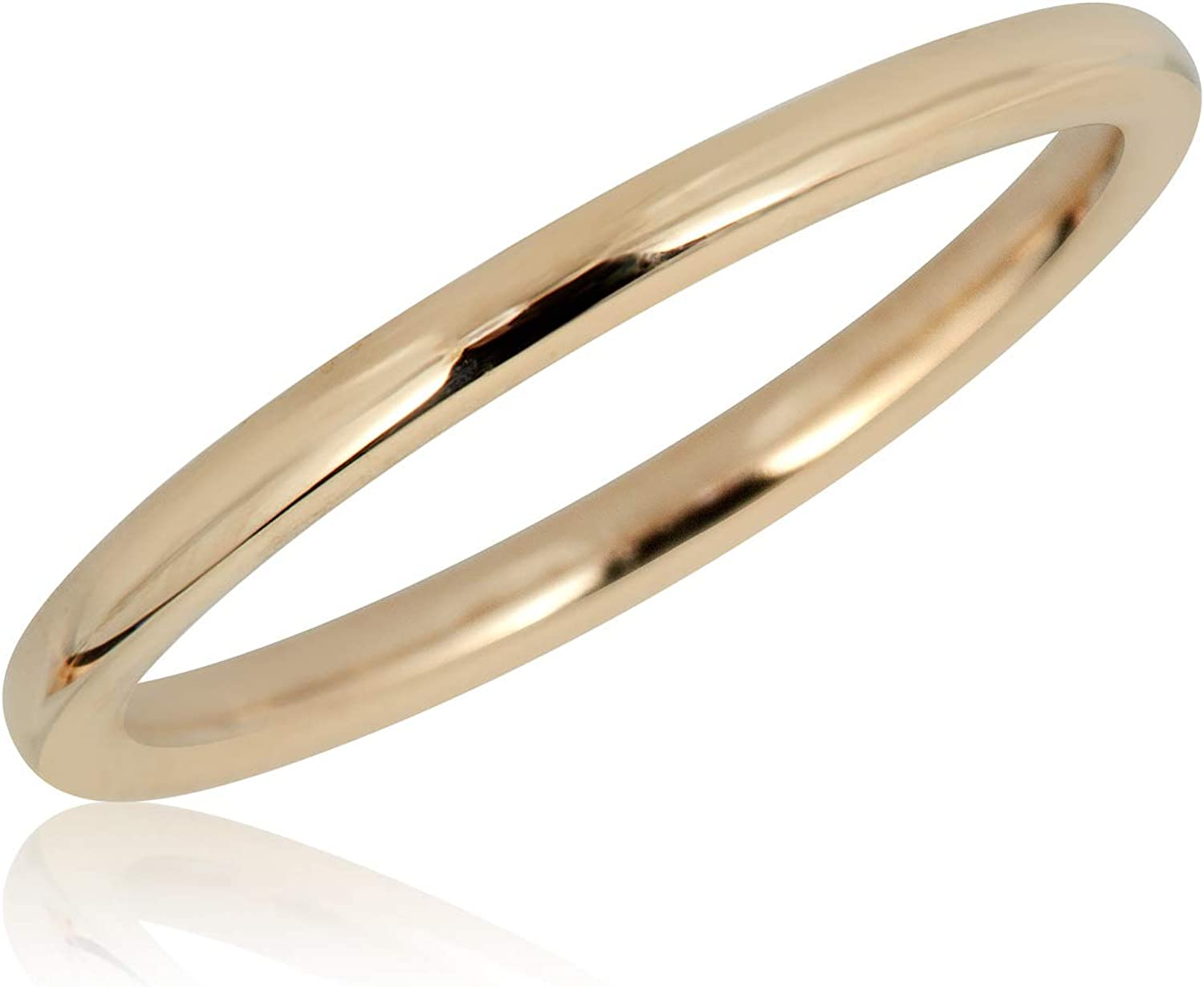 AVORA 10K Yellow Gold Plain Ranking TOP15 Stackable 1-8 Size Surprise price Band Ring-