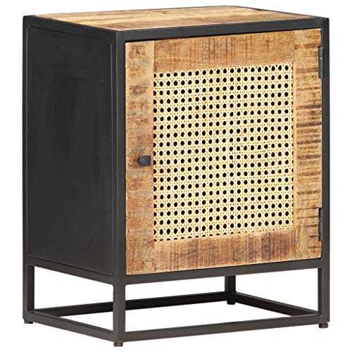 vidaXL Rough Mango Wood Bedside Cabinet Wooden Nightstand Side Table End Desk Bedroom Living Room Decoration Furniture Natural Cane