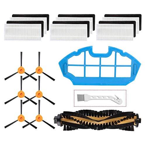 Kit de acessórios de peças de reposição Mochenli para aspirador de pó robótico Ecovacs DEEBOT N79 N79s DN622 500 N79w, 6 pincéis laterais, 6 filtros, 1 pincéis principais, 1 kit de acessórios de filtro primário de reposição
