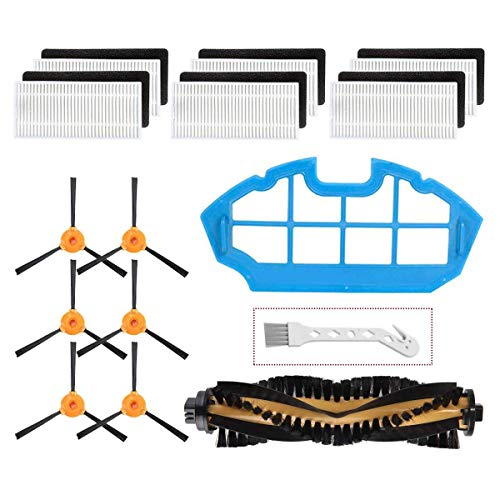 Mochenli Replacement Parts Accessories Kit for Ecovacs DEEBOT N79 N79s DN622 500 N79w Robotic Vacuum Cleaner,6 Side Brushes,6 Filter,1 Main Brushes, 1 Primary Filter Accessories Replacment Parts Kit