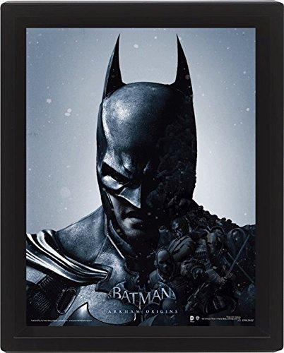 Batman Arkham Origins 10 x 20,32 cm de Batman con Marco con Tapa 3D Póster, Multi-Color