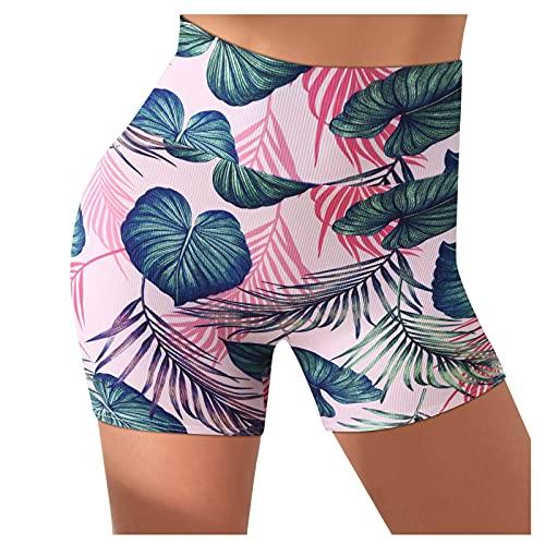 Pudyor Pantalones Cortos Yoga de Estampado para Mujer,Pantalón Cortos Cintura Alta,Leggins Absorbentes y Transpirables,Leggings de Deporte,Shorts Ideal para Running Training Fitness