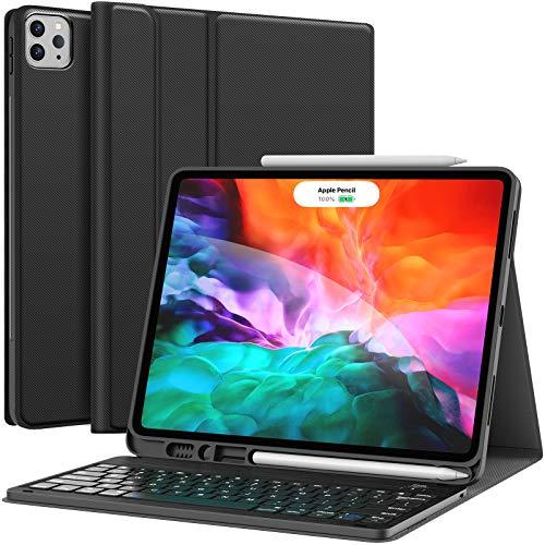 Keyboard Case for iPad Pro 12.9 2020 4th Generation, iPad Pro 12.9 Case with Keyboard 3rd Generation 2018 - Wireless Detachable - with Pencil Holder - iPad Pro 12.9 inch Keyboard Case, Black