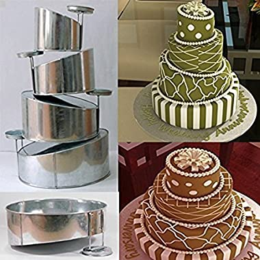 Mini Topsy Turvy 4 Tier Round Cake Pans Tins New Design By EuroTins 5  7  9  11