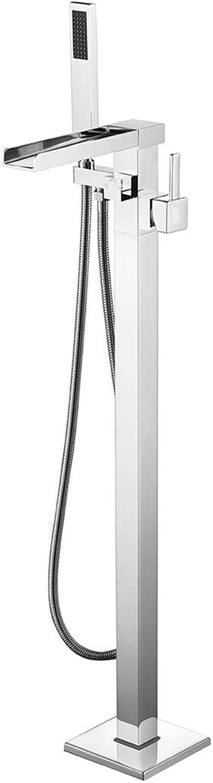 SXMXN Wasserfall Auslauf Boden Montiert Badewanne Wasserhahn Mit Hand Dusche Chrome Freistehende Badewanne Mischbatterien Becken Tap Geschenk G1 2'' (5Kg),Chrome