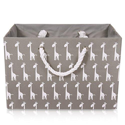 Faltbare graue Canvas Ablagekorb - hochwertige Rechteck Stoff Korb mit weißen Giraffen - perfekt für den Haushalt Lagerung, Stoffe oder Spielzeug. Größe: Breite 42 cm x Tiefe 32 cm x Höhe 28 cm