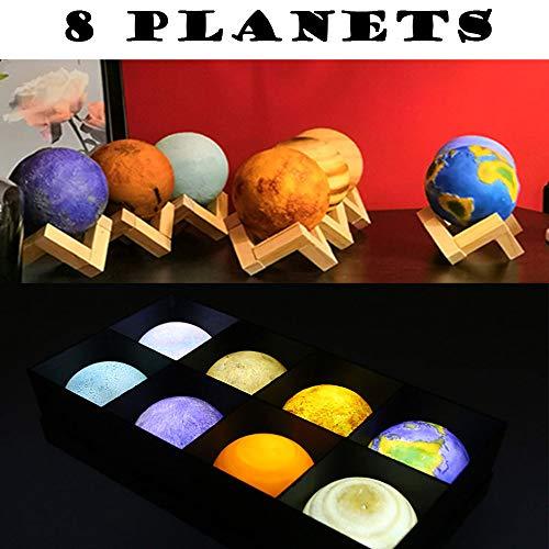 LIGHT LJ Moon Lamp, 8 Planeten 3D-Druck-Stern-Nachtlicht Mit Pat Oder Touch Control Und USB Aufladbare Nachtlichter Für Kinder Geburtstags-Party-Geschenke