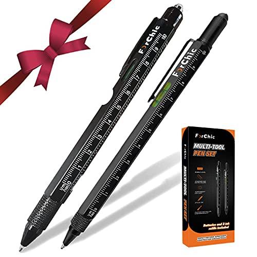 Multitool Pen Set, LED Light, Touchscreen Stylus, Ruler, Level, Bottle Opener, Phillips Screwdriver, Flathead, Ballpoint Pen, Christmas Birthday Tool Gifts for Men, Father/Dad, Husband, Women