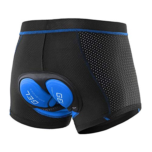YouthRM Hombre Ropa Interior de Ciclismo Malla Suave Gel Acolchado Shorts MTB Liner Shorts Bicicleta Calzoncillos 3D Thicken Gel de Sílice Secado Rápido para Amortiguación Transpirable,Blue,XX