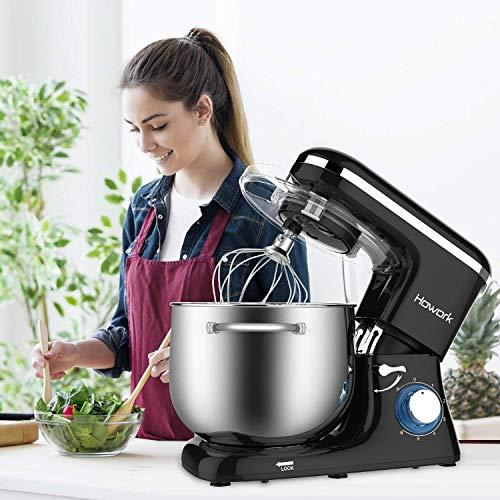 HOWORK Stand Mixer, 8L Bowl 1500W Food Mixer, Multi Functional Kitchen Electric Mixer with Dough Hook, Whisk, Beater (8L, Black)